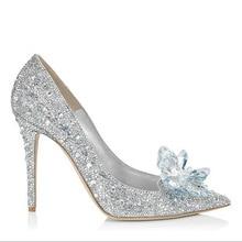 Nuevos zapatos de cristal de Cenicienta zapatos de boda de diamantes de  imitación de plata tacones altos de novia zapatos de bod. 61382cc7ed6c