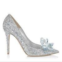 New Cinderella Crystal Shoes Silver Rhinestone Wedding Shoes Bridal Pointed High Heels Stiletto Wedding Shoes Single Shoes.