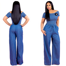 Hot sale Europe and the fold a word shoulder denim jumpsuits with short sleeves