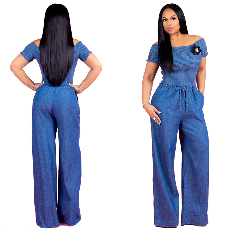 Hot Sale Europe And The Fold A Word Shoulder Denim Jumpsuits With Short Sleeves Sexy Wide Legged Jumpsuits0224