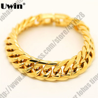 Stainless Steel Exaggerated Handwear Dragon Bone Style Gold Plated Thick Heavy Cuban Bracelet Fashion Celebrity Mens