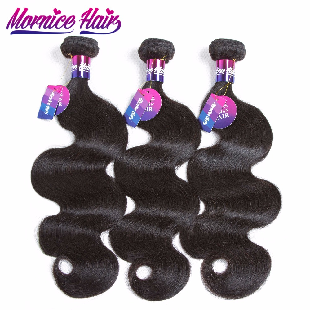 Mornice 3Pcs/Lot Peruvian Body Wave Human Hair Extensions 3 Bundles 100% Human Hair Weave Natural Color Non Remy Hair Extension