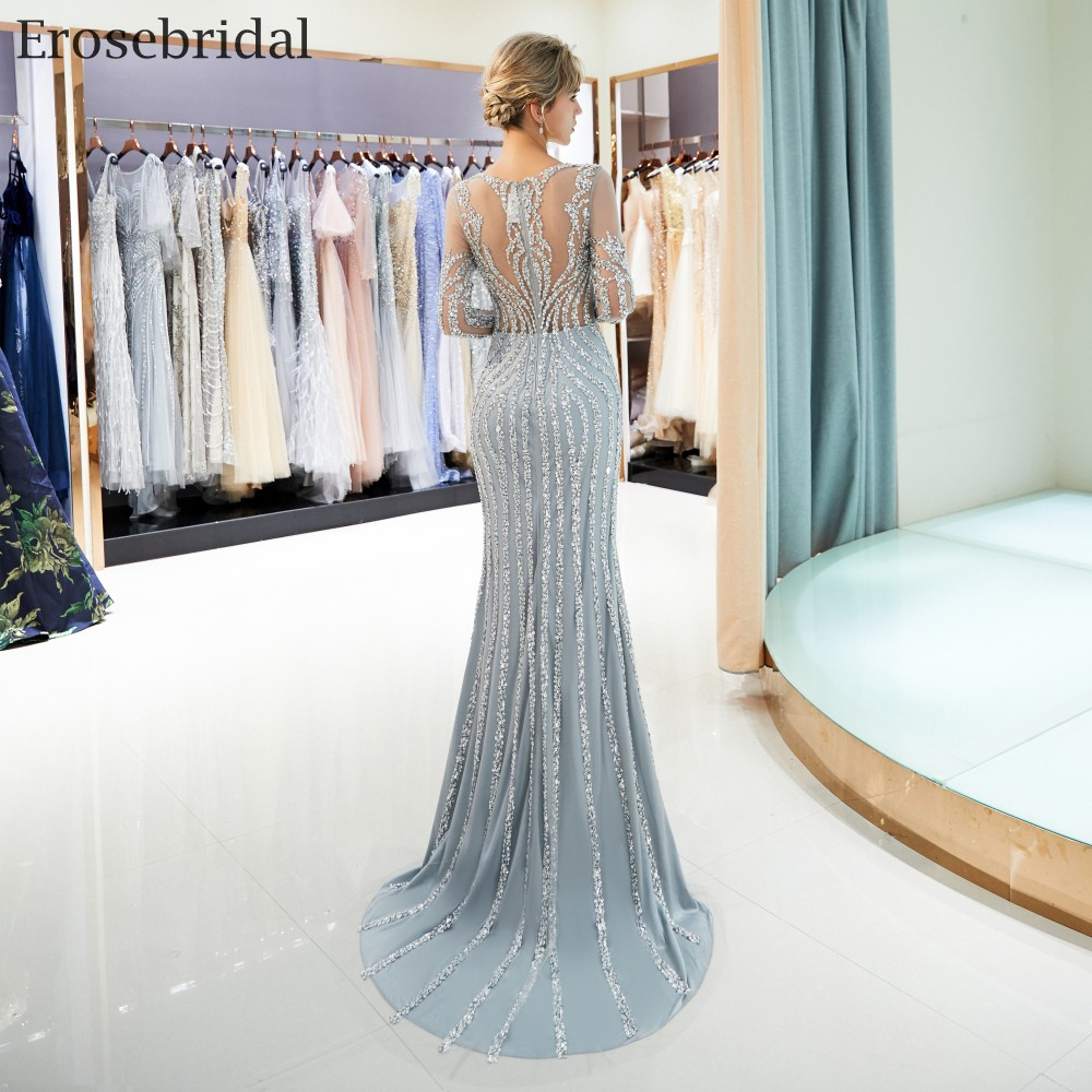 Erosebridal Mermaid Long Sleeve Evening Dress Long 2018 Sparkly Beads Sequined Formal Women Wear with Sweep Train Grey Champagne 3