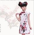 Новый 2015 Девушки Cheongsam Хлопка-ватник Китайский Стиль Прямые Элегантные Платья Традиционный Китайский Одежды