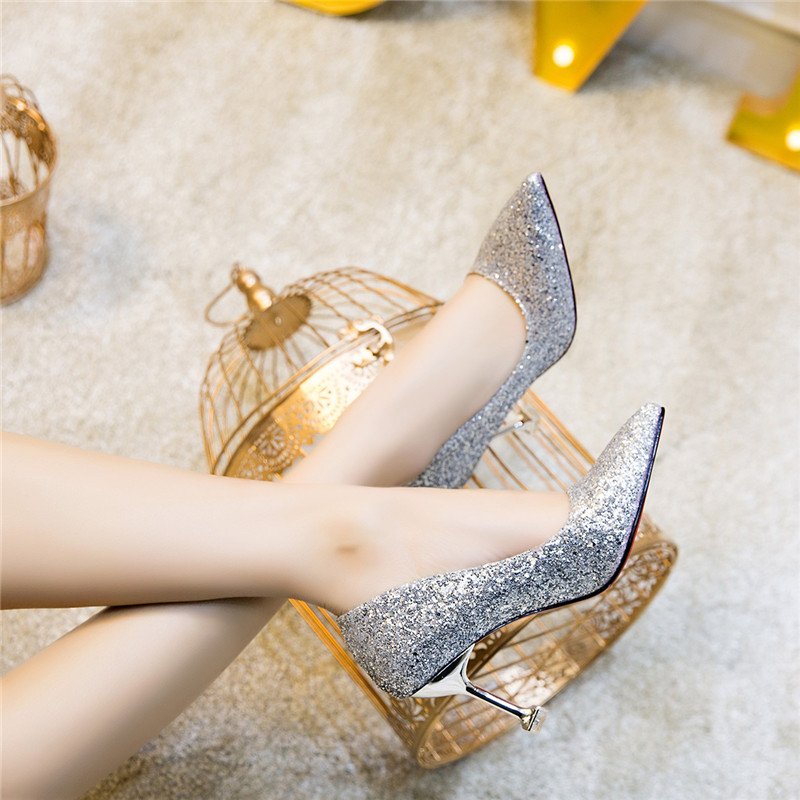 Pointed Toe Sequined Cloth Thin Heels High heel Wedding pumps women shoes 2019 Spring Autumn Fashion Shallow Bling female shoes 5