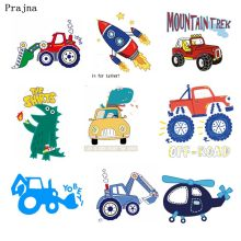 Prajna Iron-on Transfers SUV Cartoon Rocket Dinosaurs Iron On Patches Cute Animal Heat Transfer Vinyl PSG T-shirt Jeans Boy DIY(China)