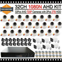 32CH AHD DVR Kit Security System with 32pcs HD 720P AHD Camera Outdoor Indoor Surveillance Camera