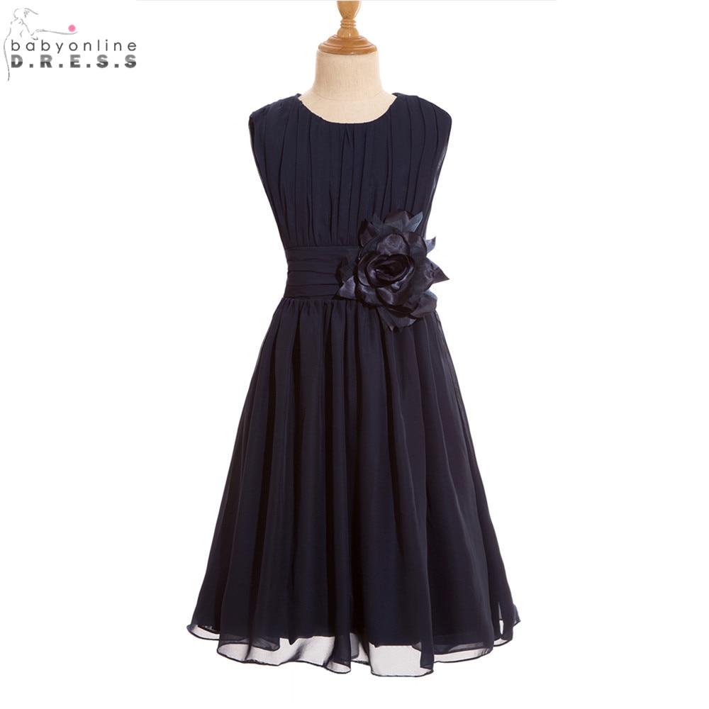 Toddler Glitz Pageant   Dresses   Cheap Navy Blue Chiffon   Flower     Girl     Dresses   for Weddings First Communion   Dresses   for   Girls