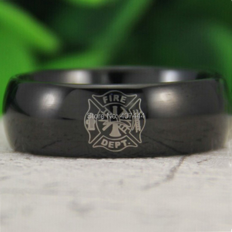 free shipping ygk jewelry hot sales 8mm black dome fireman firefighter fire police mens tungsten wedding ring - Firefighter Wedding Rings