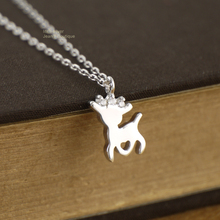 925 Sterling Silver Lovely Tiny CZ Fawn Deer Pendant Charm Chain Necklace A2756(China)