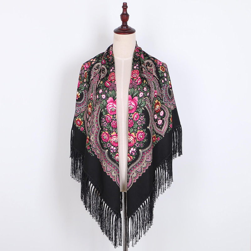 Handkerchief Blankets Shawl Wedding-Scarf Oversize Square Russian Printing Autumn Cotton
