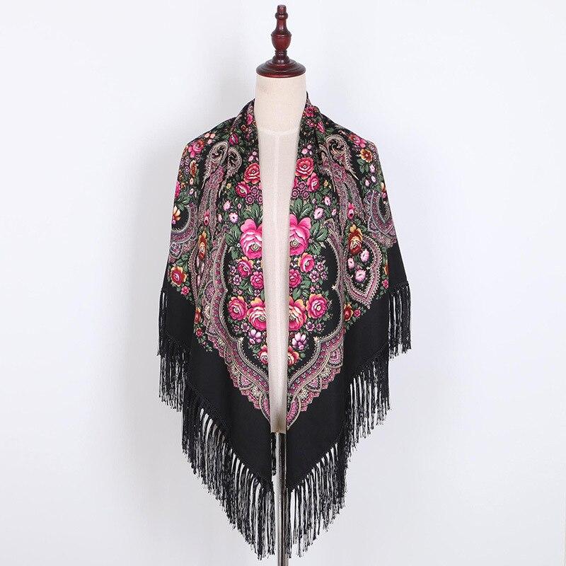 Impressão de luxo Oversize Quadrados Cobertores Russa de Casamento Das Mulheres Lenço Lenço de Algodão Estilo Retro Outono Xale 140*140 centímetros