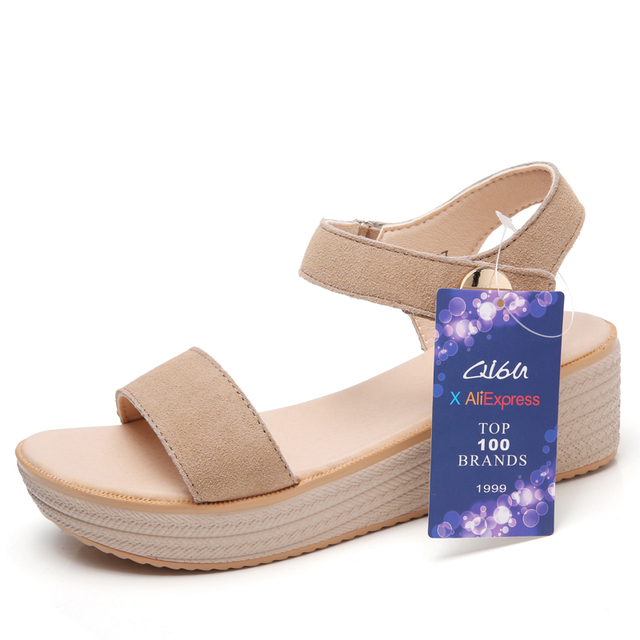 O16U Sandals Women Summer Suede Leather Strap Sandals Shoes Female Sandals  Espadrilles wedge Women Low Heels Sandals Gladiator free shipping worldwide 1c25784c4c21