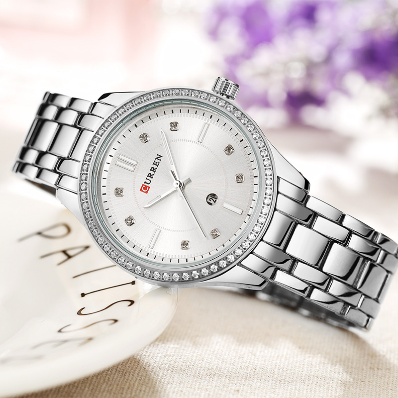CURREN Woman Watch 2019 Silver Quartz Watch Women Waterproof Sport Watches Women Fashion Watch 2019 Luxury Stainless Steel 9010(China)
