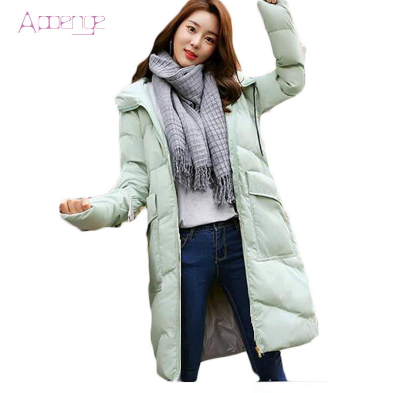 APOENGE Women's Cotton Parkas 2017 Winter Hooded Jackets Long Padded Overwear Female Thicker Coats Solid Waded Overcoats LZ519 aishgwbsj winter long coats women hooded padded cotton parkas female thicker 2017 new winter cotton warm overwear jackets pl127