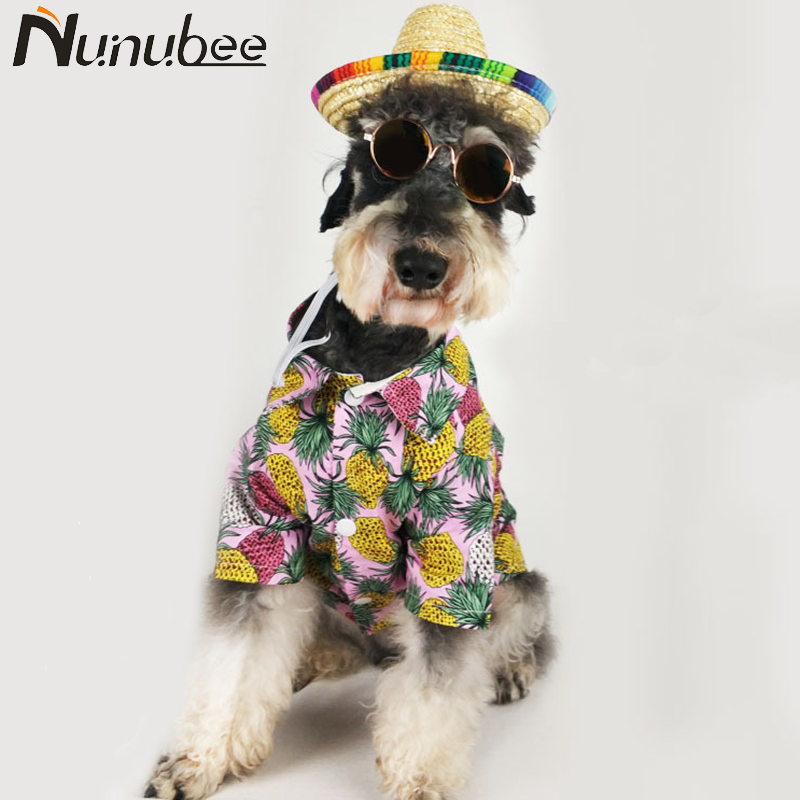Nunubee Tropical Pineapple Dog Clothes Fashion Shirt Cotton French Bulldog Summer Holiday Pet Clothes S-XXL roupa cachorro