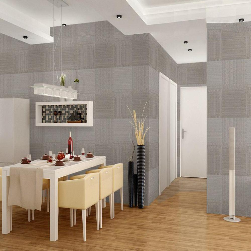 Square Solid embossed wallpaper modern design dining room