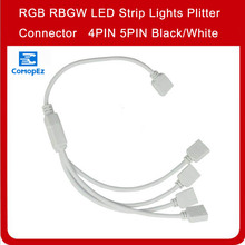 4Pin 5Pin HUB 1 to 2 3 4 Way RGB Led Strip Connector Black/ White Cable Splitter for 5050 3528 RGBW Lights