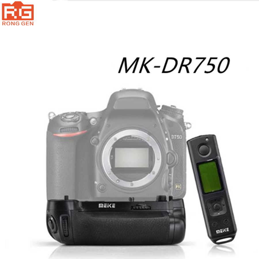 Meike MKDR750 MK-DR750 Built-in 2.4G Wireless Remote Control Vertical Battery Grip Holder for Nikon D750 meike mk dr750 built in 2 4g wireless control battery grip for nikon d750 as mb d16 wireless remote
