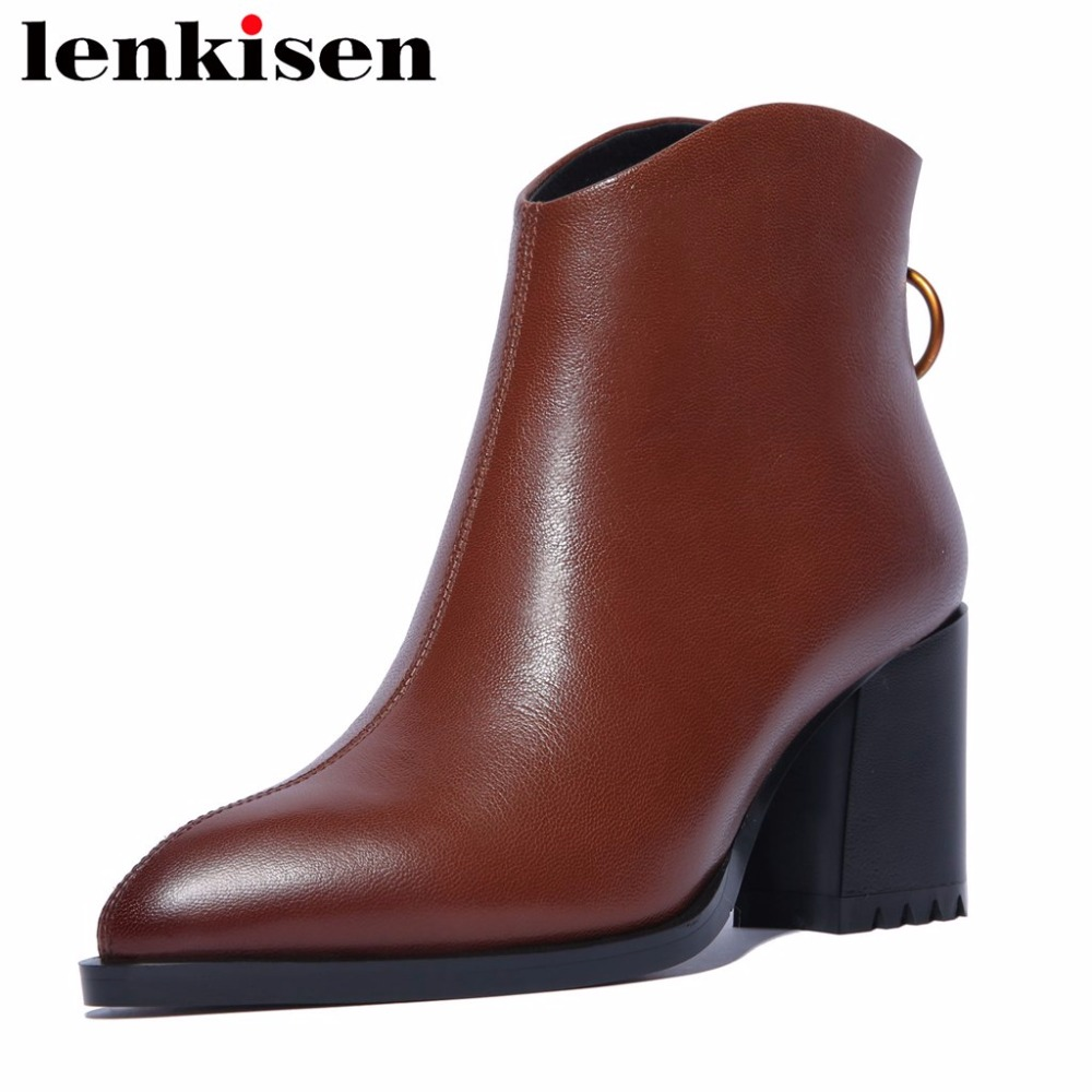 Lenkisen metal decoration plus size zipper round toe natural leather thick high heels simple style woman