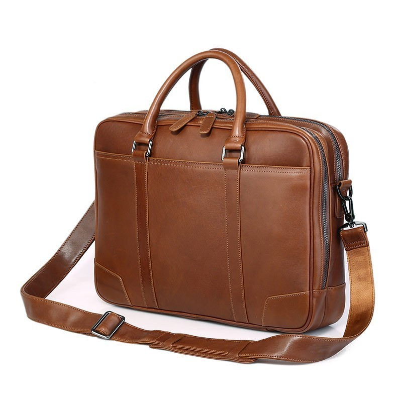 Genuine Leather Man Handbag For Business Trip Fit 15 Inch Laptop Bag Cowhide Men Briefcase Double-deck Zipper Package PR077348 aetoo with leather handbag section briefcase men and women fashion personality business package canvas laptop bag 15 inch