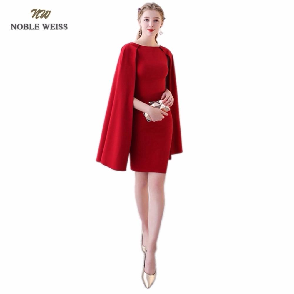 NOBLE WEISS Black Prom Dresses O Neck Robe De Soiree Mermaid Satin Mini Prom Dress With Long Cap Sleeves