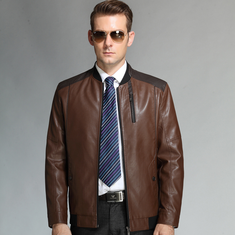 Business Casual Spring /Autumn Genuine Leather Jacket Men New ...