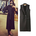 2015 Women Brand Design Fashion New Black Long Sleeveless Vest Suit Vest coat Waistcoat Double Breasted Solid Solor Coat pockets
