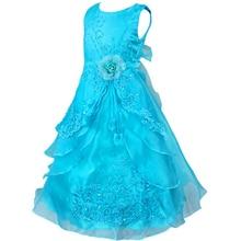 Kids Girls Sleeveless Bowknot Graduation Prom Gown Flower Girl Dresses Princess Wedding Communion Party Dress 2-14Y