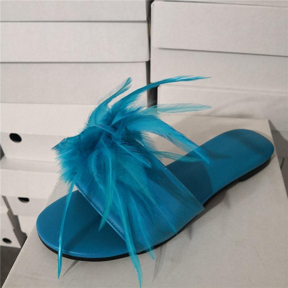 DoraTasia marque Design grande taille 35-47 loisirs plume Top qualité plage femmes chaussures d'été chaussures plates femme pantoufles tongs - 3
