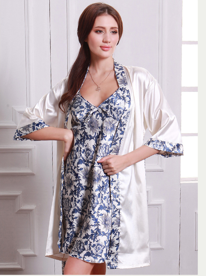 cd562fd6b3 Plus size ladies silk satin nightie with a bathrobe sexy floral sling  nightdress and robe casual housecoat set for women-in Robe   Gown Sets from  Underwear ...