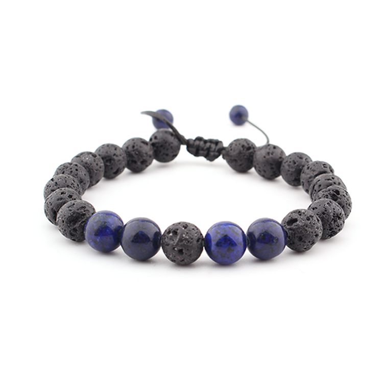 Fashion Natural Stone Jewelry Lapis Lazuli Hand-knit Bracelet Woman Men's Exquisite Accessories Charm Pop Bead Bracelet