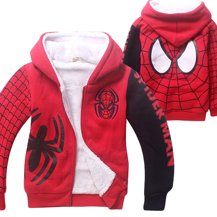 Nya Spider Man Cartoon Barn Höst Vinter Sport Hoodies Tjock Coat Double Coral Bomull Velvet Zipper Outfit för 4-12 år