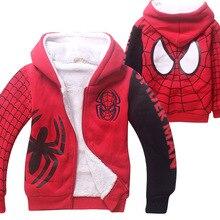 Nouveau Spider Man Enfants de Dessin Animé Automne Hiver Sport Hoodies Épais Manteau Double Corail Coton Velours Zipper Tenue pour 4-12 Ans