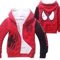 Novo Homem Aranha Dos Desenhos Animados Crianças Outono Hoodies Do Esporte de Inverno Espessa Camada Dupla Coral de Veludo Com Zíper de Algodão Outfit para 4-12 Anos