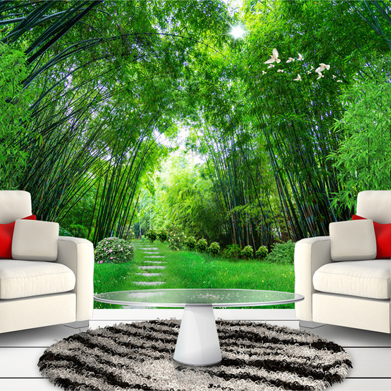 Custom photo wall paper 3d green bamboo forest large for Wallpaper home green