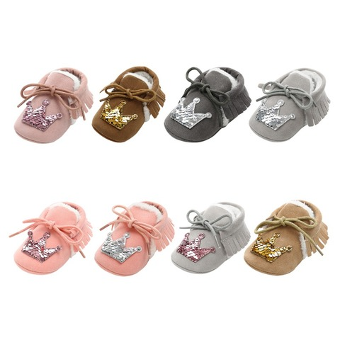 Hot Baby Princess Crown Casual Toddler Shoes Baby Shoes 2018 New Winter Newborn Soft Warm Shoes Infant First Walkers 0-18M F Lahore