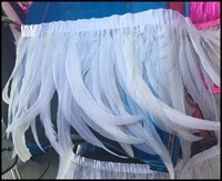 Free shipping pure white 30 35cm 100pcs/Y 5 Yard/lcolor rooster Coque Tail Fringes Sewing on Rooster feather trimming/ribbon