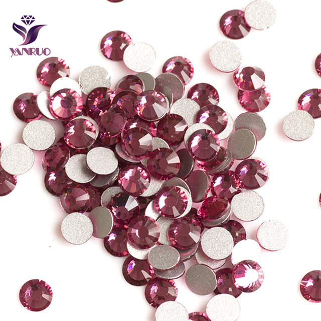 YANRUO Rose Color Strass Non Hotfix Glue on Nails Crystal Rhinestones  Flatback Glass Crystal for Clothing Jewelry Marking eb7aaa8b2160
