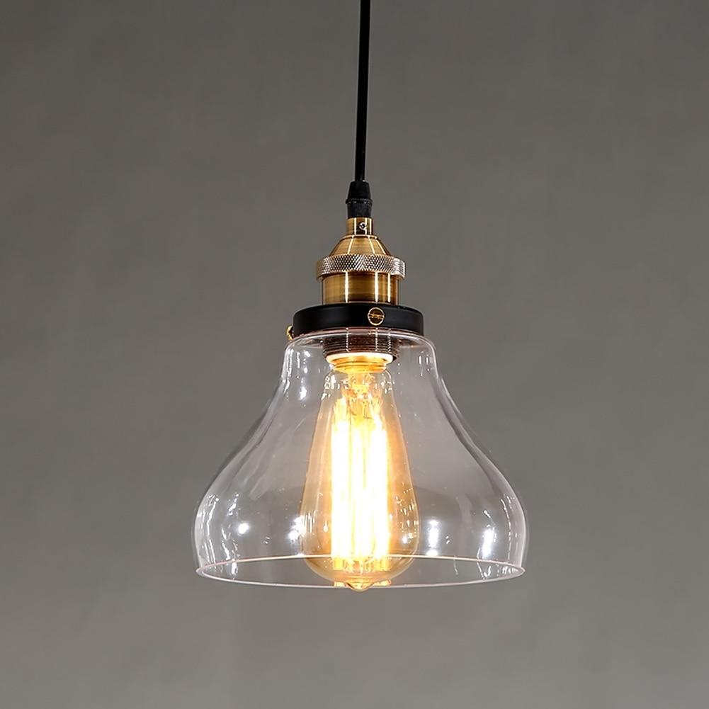 ФОТО Modern Industrial Pendant Lamp Bell Lamp Metal + Glass Lampshade Pendant Light E27 Clear Glass Droplight Home Lighting