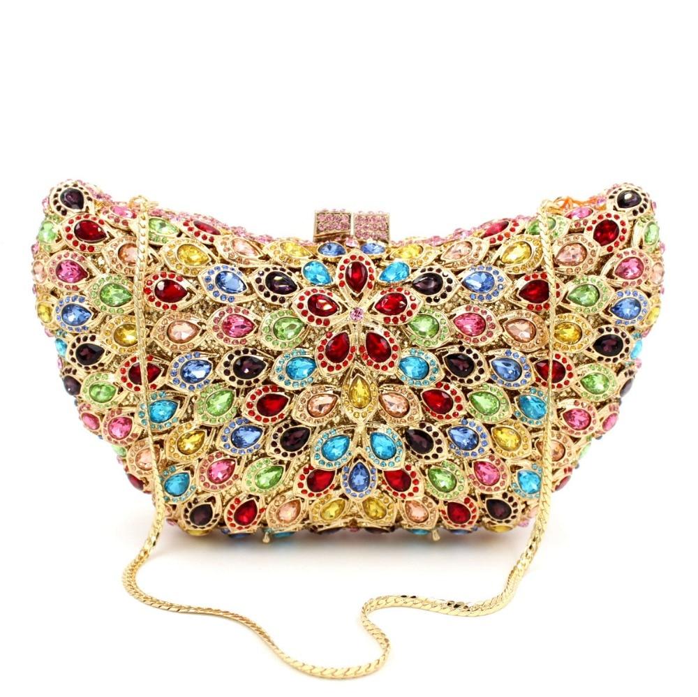 BL019 Luxury diamante evening bags octagon colorful clutch bags women party purse bags crystal sacoche pochette handbags