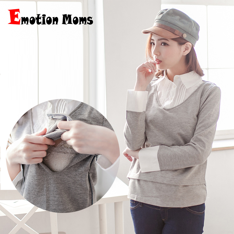 Emotion Moms Fashion Maternity Clothes long sleeve Maternity top Nursing tops Breast feeding Tops for Pregnant Women T-shirt