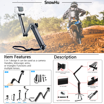 SnowHu For Gopro Hero Accessories Selfie stick Tripod Large bag For Gopro hero 8 7 6 5 4 3 2 Sjcam EKEN H9 For xiaomi Yi GS71-C 1