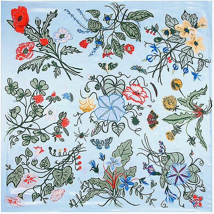Grass Petunia Flowers Scarf Silk Feeling 90cm Scarves Match Apparel font b Accessory b font Woman