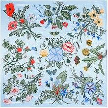Grama Flores de Petúnia Lenço Lenços de Seda Sentimento 90 cm Jogo Acessório Do Vestuário Da mulher Da Menina Adicionar Presente Roupas 90FJ48