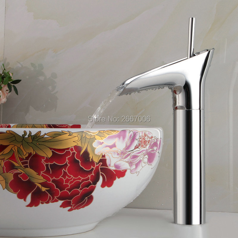Free shipping New Arrivals Chrome color Waterfall Faucet Tall Bathroom Faucet Hot and Cold Bathroom Basin Mixer Tap Polish ZR604 automatic sensor polish chrome waterfall bathroom basin faucet cold tap plate