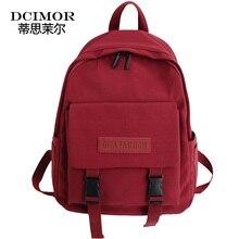 DCIMOR Fashion buckle Women Backpack Large capacity waterproof nylon shoulder bag Schoolbag for teenagers Girls bookbag Mochilas