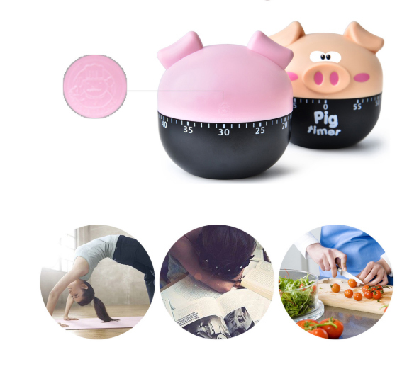 pig Year Mechanical type Kitchen Cooking Timer Home cute cartoon Piggy timer Tomato clock Household Accessories