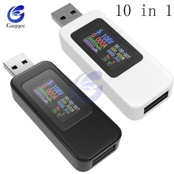 10 En 1 QC2.0 QC3.0 DC USB probador medidor de voltaje actual voltímetro amperímetro Monitor Digital indicador de potencia cargador 4-30V