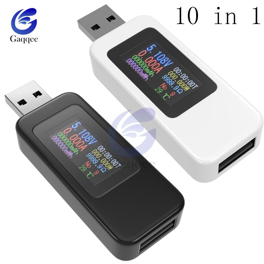 10 In 1 QC2.0 QC3.0 DC USB Tester Current Voltage Meter Timing Voltmeter Ammeter Digital Monitor Power Indicator Charger 4-30V
